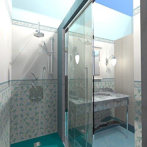 ванная с душем без кабины фото